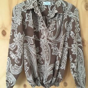 Vintage Taupe Colored Paisley Print Blouse